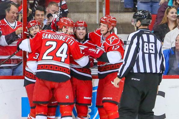 (Photo: Andy Martin Jr) Carolina Hurricane Chris Terry celebrates his first NHL Goal