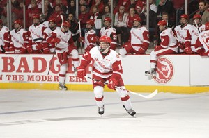 Nic Kerdiles makes the move to Center for the Badgers. (photo: Greg Anderson)
