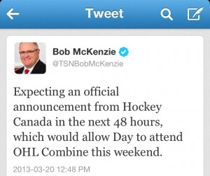 Bob McKenzie Tweet announcing Sean Day's exceptional status