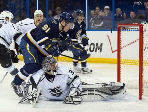 Jonathan Quick only allowed 6 goals against the Blues last post-season. (Scott Rovak-USA TODAY Sports)