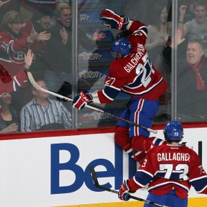 Montreal Canadiens forwards Alex Galchenyuk and Brendan Gallagher