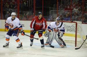 Brooks Laich in action on April 4th vs the New York Islanders. Tom Turk/THW