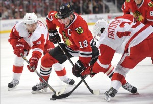 Jonathan Toews plays a big part in the Blackhawks' offence. If the Detroit Red Wings can shut down him and his line, we may see another long series go in Detroit's favour. (Rob Grabowski-USA TODAY Sports)