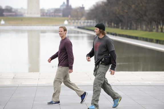 Hockey brothers Anthony (left) and Bates (right) search for the next clue on the steps of the Lincoln Memorial on the 22nd season finale of THE AMAZING RACE (Photo: Heather Wines/CBS ©2012 CBS Broadcasting, Inc. All Rights Reserved)