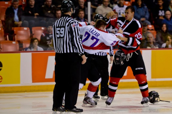 Nurse and Lazar exchange pleasantries during the Top Prospects Game [photo: David Chan]