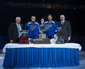 Ken Hitchcock, Jaroslav Halak, Brian Elliott and Doug Armstrong were honored at the 2012 NHL Awards Show (Scott Rovak-USA TODAY Sports)