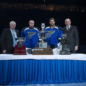 St. Louis Blues head coach Ken Hitchcock, goalies Jaroslav Halak and Brian Elliott and general manager Doug Armstrong