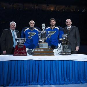 St. Louis Blues head coach Ken Hitchcock, goalies Jaroslav Halak and Brian Elliott and general manager Doug Armstrong