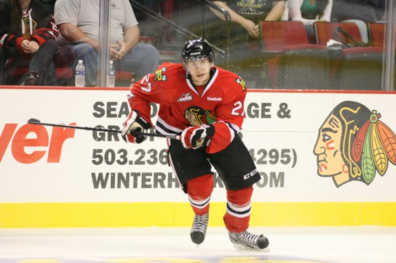 (photo courtesy WHL.ca) The Portland Winterhawks project to be a high-scoring team again this season, led by the dynamic duo of Oliver Bjorkstrand (above) and Nic Petan, who could battle for the league scoring title in 2014-15.