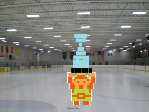 Link hoisting the cup (Legend of Zelda)