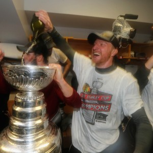 Hossa celebrating with the Cup for the second time on June 24 2013. (David Sandford/Pool Photo via USA TODAY Sports)