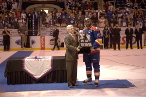 Angelidis and the Calder Cup.  Photo Credit:(John Wright/Norfolk Admirals)