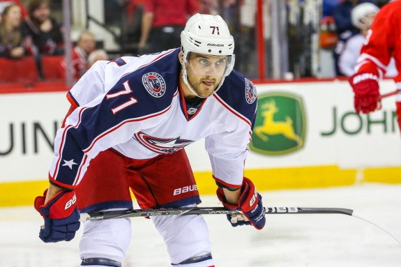 Nick Foligno (above) and James Wisniewski scored a pair of goals each against the Flyers on Friday night. The 4-3 loss marked Philadelphia's fourth straight loss to Columbus.