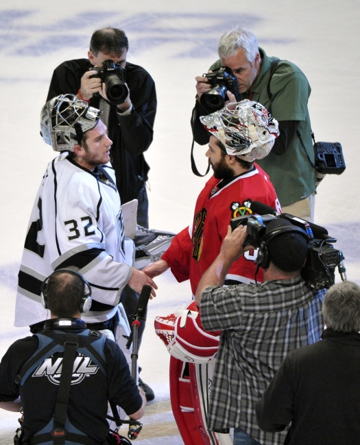 One of the shining moments of every series is when the goalies meet in the line (Scott Stewart-USA TODAY Sports)