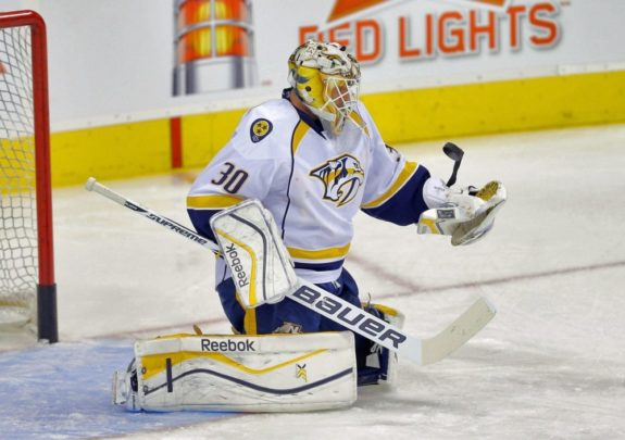 Carter Hutton led the Predators to a 3-2 OT win on Thursday (Bruce Fedyck-USA TODAY Sports)