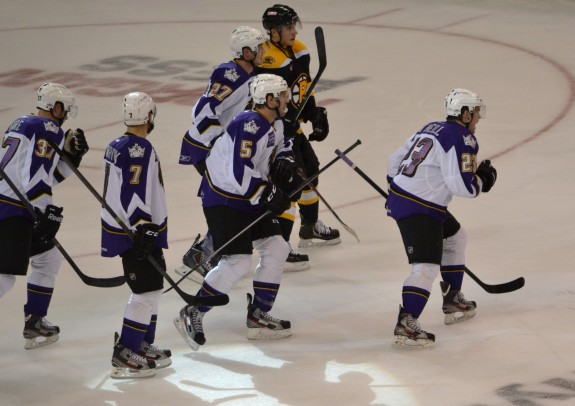 RW Brian O'Neill (23) celebrates his goal on Saturday against the Providence Bruins.