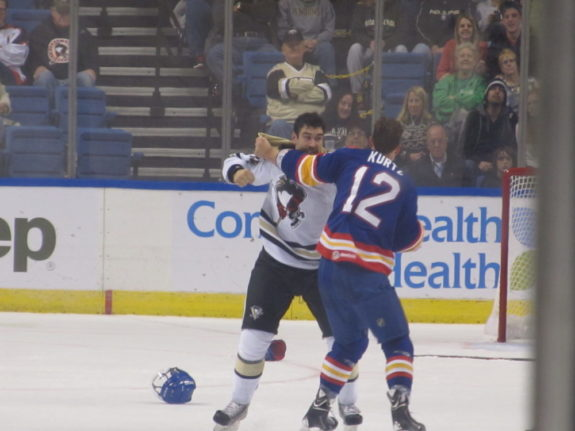 Pierre Luc Leblond had two fights tonight, including one in the second period with Admirals winger John Kurtz. (Alison Myers/THW)