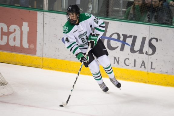 Jordan Schmaltz in his time with UND