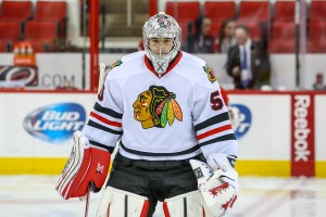 Corey Crawford will start in goal for Chicago in game one against Minnesota. Photo Credit:  Andy Martin Jr