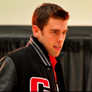 Brandon Gormely, currently of the Portland Pirates, as a member of Team Canada at the 2012 World Junior Championships