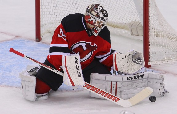 The blocker and catching glove of Cory Schneider (Ed Mulholland-USA TODAY Sports)