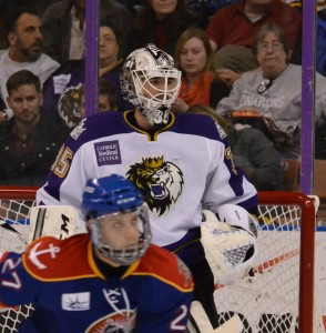 Jean-Francois Berube watches the play unfold Saturday night in a 3-2 win over the Admirals. Berube made 28 saves in the win.