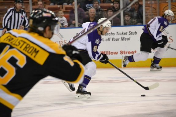 Monarchs D Colin Miller starts the rush out of the defensive zone against Providence. (Josh Weinreb Photo)