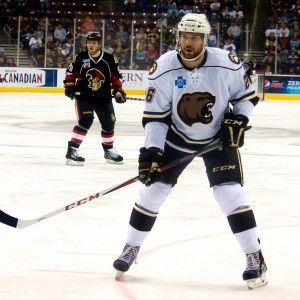 Hershey Bears' Brandon Segal and Binghamton Senators Tyler Eckford. (Annie Erling Gofus/The Hockey Writers)