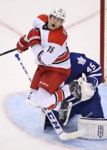 Tuomo Ruutu earlier this season vs Toronto. (Tom Szczerbowski-USA TODAY Sports)