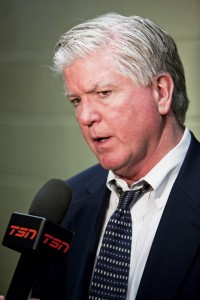 Brian Burke talking to TSN in 2009 (Wikipedia Commons)
