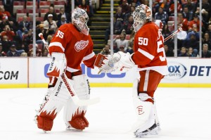 Jonas Gustavsson (50) has beeen a major factor in the Red Wings' success this year. (Rick Osentoski-USA TODAY Sports)