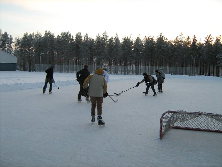 The closest I've come so far to being fully Canadian - pond hockey in Finland with myself on the far left. (Author's photo)