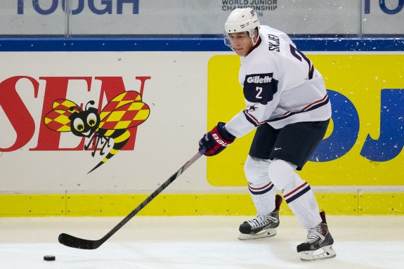 Team USA's Brady Skjei at the 2014 World Juniors in Malmo, Sweden - 12/29/13