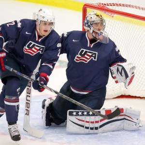 Brady Skjei and Jon Gillies of Team USA – 2014 World Juniors (WJHC)