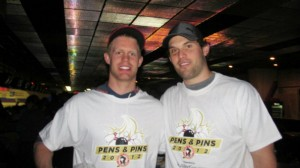 The Pens and Pins event is a good time for fans to interact with their favorite players, such as defenseman Philip Samuelson (left). (Alison Myers/THW)