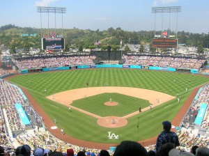 Dodger Stadium, the home of the first of four Stadium Series games this year. Credit: By Frederick Dennstedt via Wikimedia Commons