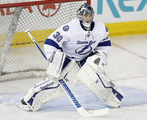 Anders Lindback joined the Crunch on a conditioning stint this weekend. (Perry Nelson-USA TODAY Sports)