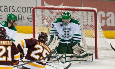 UND Hockey: Clarke Saunders Holds Off Mavericks