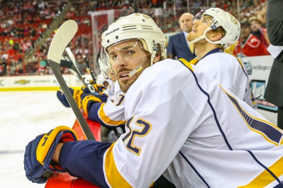 Mike Fisher watches on from the bench, Photo Credit: Andy Martin Jr