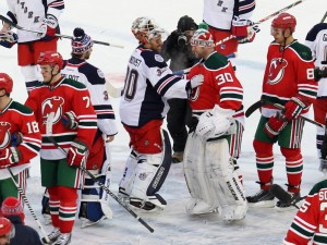 Henrik Lundqvist and the Rangers got the better of Martin Brodeur and the Devils in the first of two Stadium Series games at Yankee Stadium (Brad Penner-USA TODAY Sports)