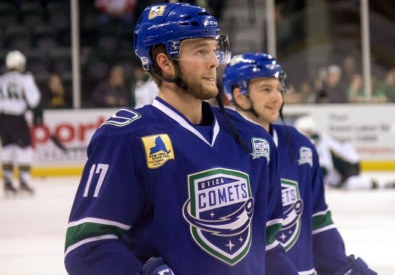 (Ross Bonander/THW) Nicklas Jensen is one of Vancouver's top prospect, a near NHL-ready forward currently playing for the AHL's Utica Comets. Jensen hails from Denmark and could be a good mentor for his compatriot Nikolaj Ehlers in the years to come with Winnipeg.