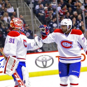 Montreal Canadiens goalie Carey Price and defenseman P.K. Subban