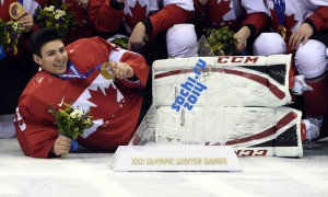 Montreal Canadiens goalie Carey Price with his gold medal