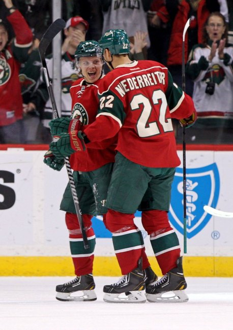 Minnesota Wild forward Mikael Granlund celebrates a recent goal with teammate Nino Niederreiter (Brace Hemmelgarn-USA TODAY Sports)
