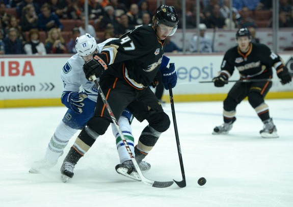 January 15, 2014: Anaheim Ducks defenseman Hampus Lindholm (47) and Vancouver Former Canucks center Ryan Kesler (17). The two teammates defeated the Canucks at Rogers Arena on Thursday, November 21, 2014 (Kirby Lee-USA TODAY Sports)