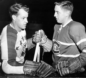 Jean Beliveau with Gordie Howe prior to a 1950's All-Star game in Montreal. (DAVID BIER, CLUB DE HOCKEY CANADIEN)
