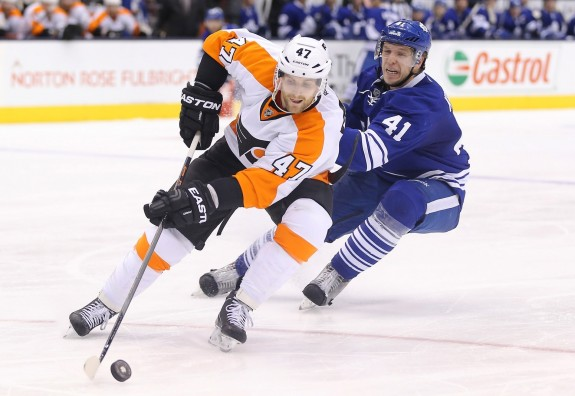 (Tom Szczerbowski-USA TODAY Sports) Likewise, the Philadelphia Flyers are hurting on defence, with Andrew MacDonald (above) and Braydon Coburn joining Kimmo Timonen on the sidelines for the foreseeable future. It wouldn't be surprising to see the Flyers pull the trigger on a trade sooner than later.