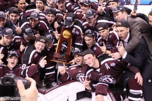Union College Dutchmen celebrate their first ever National Championship in men's ice hockey. [photo: Josh Smith]
