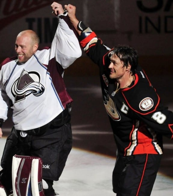 It was a tough goodbye with Teemu Selanne. (Gary A. Vasquez-USA TODAY Sports)