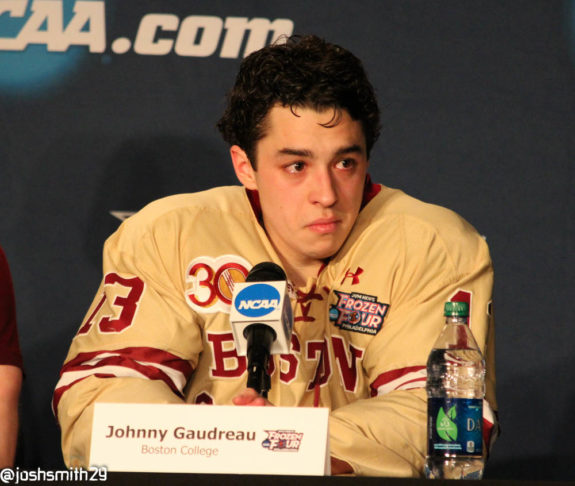 John Gaudreau at the post-game press conference. [photo: Josh Smith]